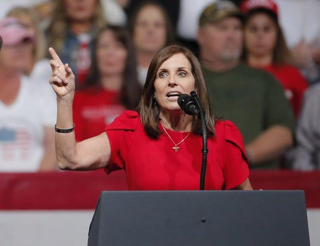 Sen. Martha McSally, R-Ariz., speaks during a Keep America Great Rally at Arizona Veterans Memorial Coliseum in Phoenix on Feb. 19, 2020.