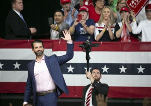 Donald Trump Jr. speaks during a rally that President Donald Trump later spoke at on Feb. 19, 2020, at the Arizona Veterans Memorial Coliseum in Phoenix.