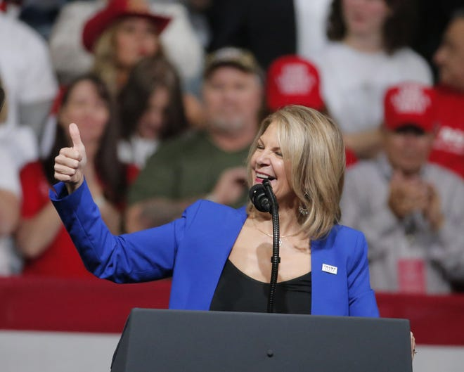 Kelli Ward, Arizona Republican Party Chair, speaks during a Keep America Great Rally at Arizona Veterans Memorial Coliseum in Phoenix, Ariz. on Feb. 19, 2020.