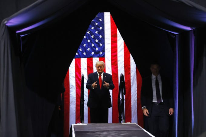 President Donald Trump speaks at a campaign rally at Veteran's Memorial Coliseum, in Phoenix, Ariz. on Feb 19, 2020.