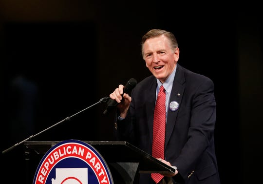 Rep. Paul Gosar speaks during an Arizona Republican Party Meeting at Church for the Nations in Phoenix on Jan. 25, 2020.