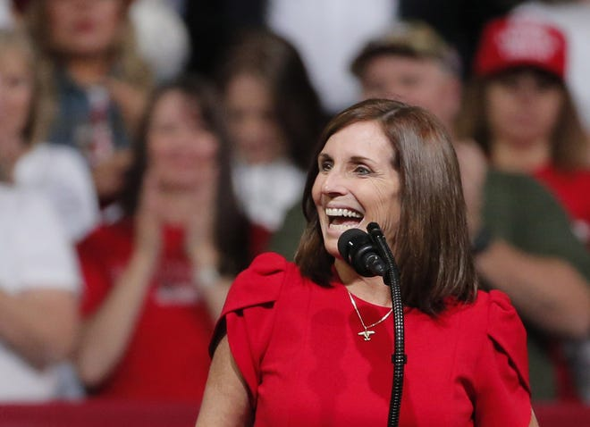 Sen. Martha McSally, R-Ariz., speaks during a Keep America Great Rally at Arizona Veterans Memorial Coliseum in Phoenix, Ariz. on Feb. 19, 2020.