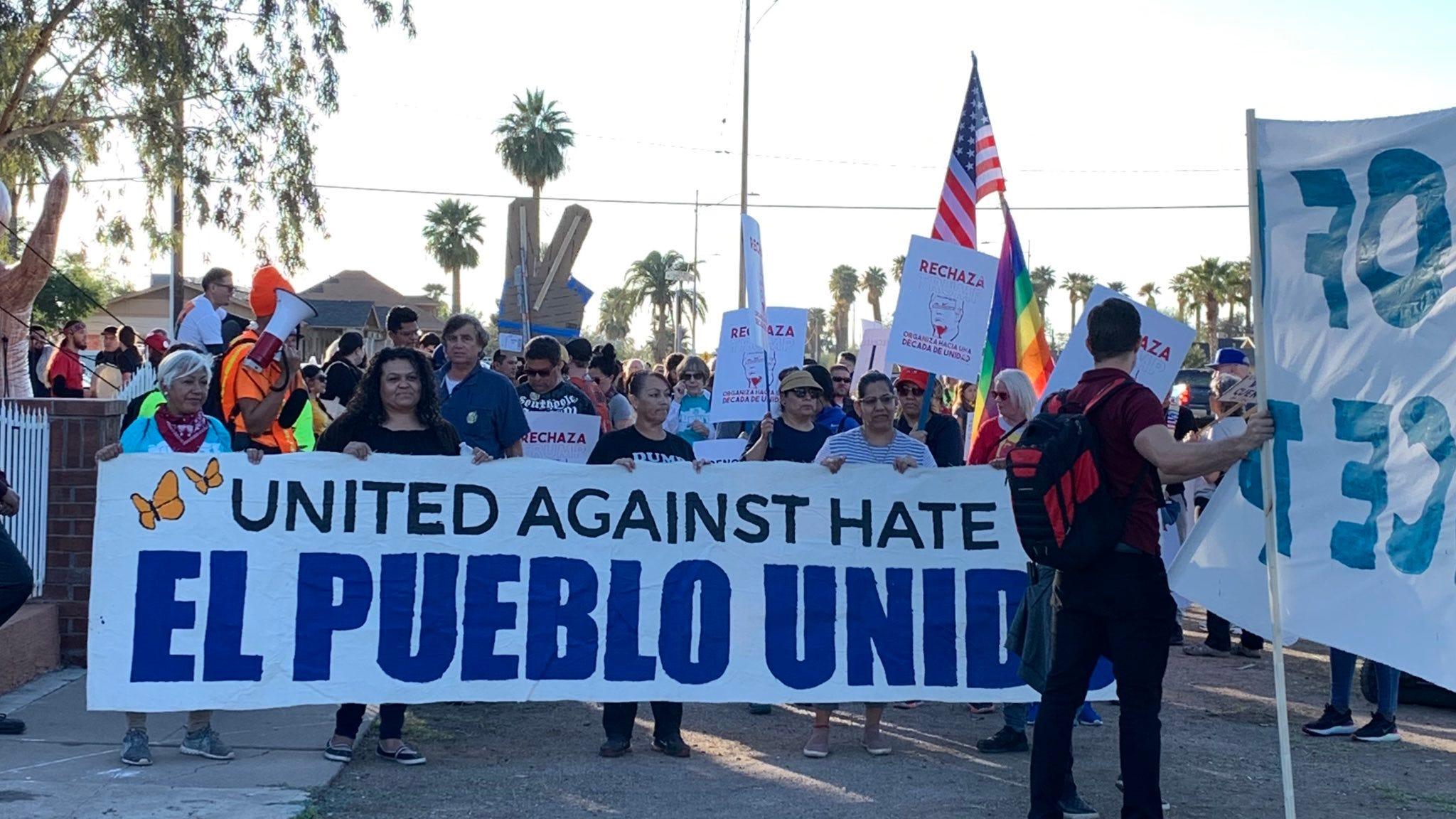Community groups protest ahead of Donald Trump campaign...