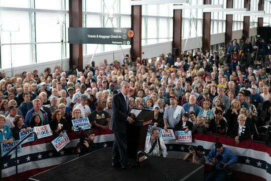 North Carolina voting booths opened as Democratic presidential candidate Michael Bloomberg made campaign stops first in Winston-Salem, Greensboro and then in Raleigh on Thursday, Feb 13, 2019, in Raleigh, N.C. (Mehmet Demirci/Zuma Press/TNS)