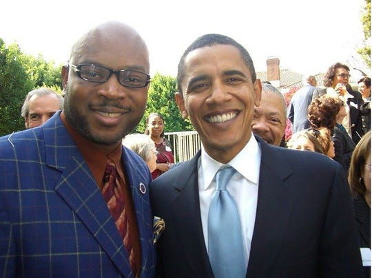 On left in this photo is Earl R. Johnson, Jr. (aka Big Juicy), who was requested by President Obama's campaign to play solo piano at a fundraiser for the president.