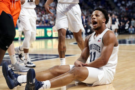 Feb 18, 2020; University Park, Pennsylvania, USA; Penn State Nittany Lions forward Lamar Stevens (11) reacts following a call by the official during the first half at Bryce Jordan Center. Mandatory Credit: Matthew OHaren-USA TODAY Sports