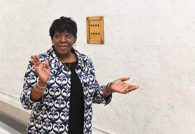 Assembly Majority Leader Crystal D. Peoples-Stokes, D- Buffalo, walks outside the Assembly Chamber in the state Capitol Monday, April 1, 2019, in Albany, N.Y.
