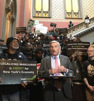 Assemblyman David Weprin, D-Queens, spoke at a rally in January 2020 at the state Capitol on the need to make sure revenue from marijuana sales goes back into communities of color.