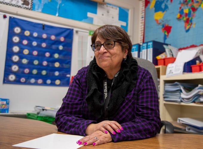 Maria Castellanoz is a third grade teacher at Sherwood Elementary School. Castellanoz sits inside her classroom after school on Feb. 18, 2020.