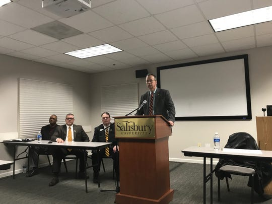 Salisbury University President Charles Wight discusses investigations into racist graffiti found on campus during a news conference on Wednesday, Feb. 19, 2020.