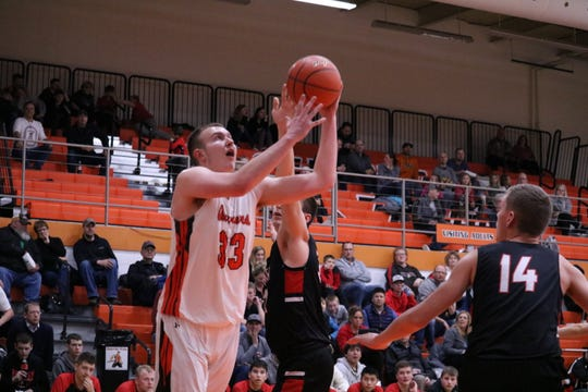 Dell Rapids' Ramsey Heinecke shoots against Sisseton on Tuesday, Feb. 18. The senior finished with 10 points and five rebounds against his former team.