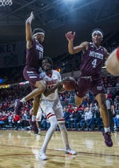 Missouri State's Isiaih Mosley and Ja'Monta Black bite on a shot fake during the Bears' matchup against the Braves on Feb. 19, 2020, in Peoria, Illinois.