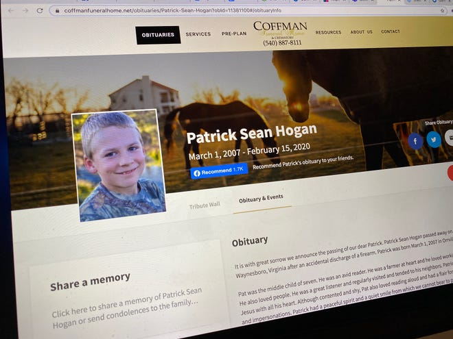Photo of the Coffman Funeral Home and Crematory website with Patrick Sean Hogan's obituary.