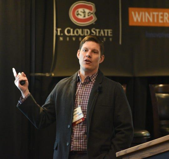 Luke Greiner speaks at the Winter Institute Thursday, Feb. 20, 2020, at the Regency.