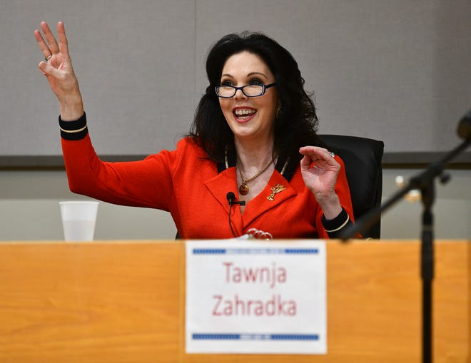 Tawnja Zahradka speaks Wednesday, Feb. 19, 2020, during the 6th Congressional District DFL debate in Monticello.