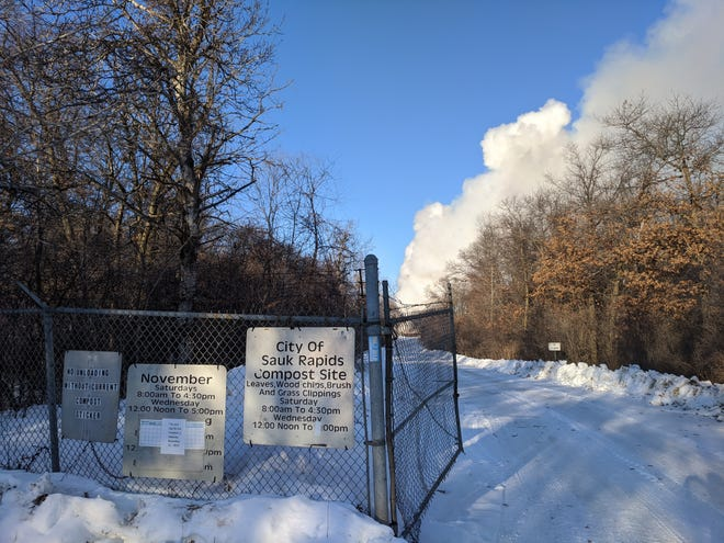 Smoke from a controlled burn rises from the Sauk Rapids Compost Site Thursday morning, Feb. 20, 2020.