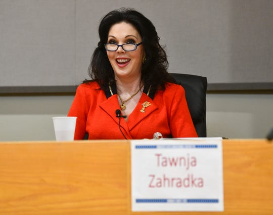 Tawnja Zahradka speaks during the 6th Congressional District DFL debate Wednesday, Feb. 19, 2020, at the Monticello Community Center.