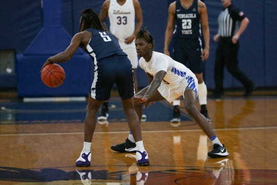 Tallahassee Community College guard Eric Hester (13) plays lock-down defense for the Eagles during a game versus Pensacola State on Wednesday, Feb. 19, 2020.
