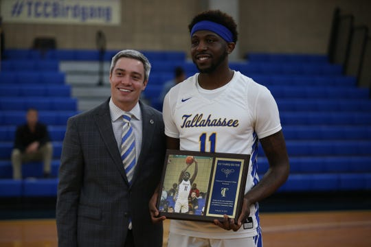 "Tallahassee Community College sophomore guard Tariq Silver (11) is honored during ""sophomore night"" at TCC Wednesday, Feb. 19, 2020."