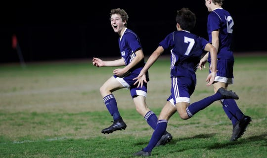 Maclay junior Michael Sweeney celebrates his game-winning goal as Maclay's boys soccer team beat St. Johns Country Day 2-1 in a Region 1-2A final on Feb. 19, 2020.