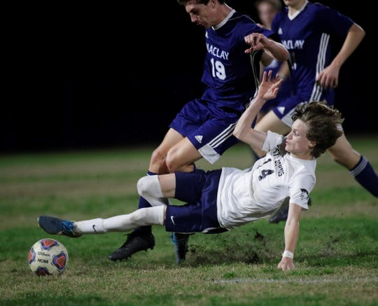 Maclay senior Luke Stockstill gets slide tackled hard by St. Johns Country Day's Matthew Stratton as Maclay's boys soccer team beat St. Johns Country Day 2-1 in a Region 1-2A final on Feb. 19, 2020.