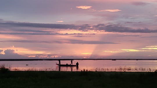 Lake Okeechobee is enjoyed by two anglers in October 2019.