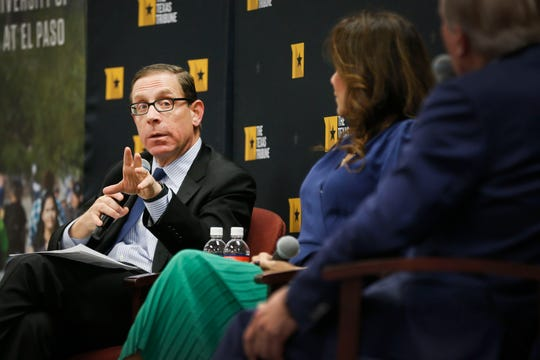 CEO of the Texas Tribune Evan Smith talks during a panel discussion with U.S. Rep. Veronica Escobar (D-El Paso) and senior chair of Hunt Companies Woody Hunt at the Texas Tribune Borderland symposium Thursday, Feb. 20, at UTEP Union Building East in El Paso.