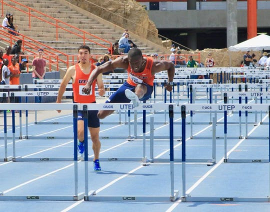UTEP hurdler Shakeem Smith, shown here competing in the 2019 UTEP Springtime Invitational, holds the school record in the indoors 60-meter hurdles