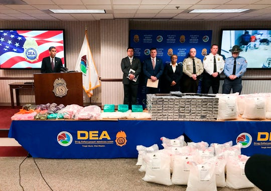 """U.S. Drug Enforcement Administration acting Administrator Uttam Dhillon announced the launch of Operation Crystal Shield at a news conference in Atlanta on Thursday, Feb. 20, 2020. Federal authorities say they are targeting methamphetamine """"transportation hubs"""" around the country in an effort to block the distribution of the highly addictive drug."""