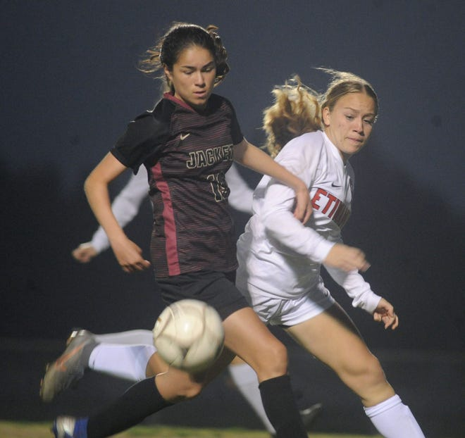 Elisa Merlos, left, scored Oxnard's lone goal in its 1-0 win over Chula Vista-Otay Ranch in the Division III regional semifinals.