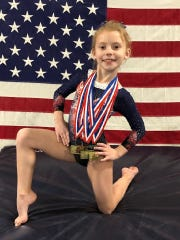 Calypso Chavanne from Star Bound Gymnastics Academy  captured an all-around state championship title for her age group: Xcel Silver 2020 State Champion.