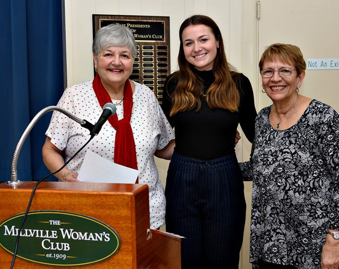 During a recent luncheon meeting, Donna Pio (left) and Barbara Westog (right), co-chairpersons of the Millville Woman's Club Education Committee, introduced Brianna Miller, a senior at Millville High School, as the club's student of the month for February.