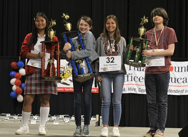 """More than 220 Tulare County students competed in the Tulare County Spelling Championship on Wednesday, Feb. 19, 2020. Conyer Elementary School fifth-grader Adeline Boling won the bee with the word """"kerplunk."""""""