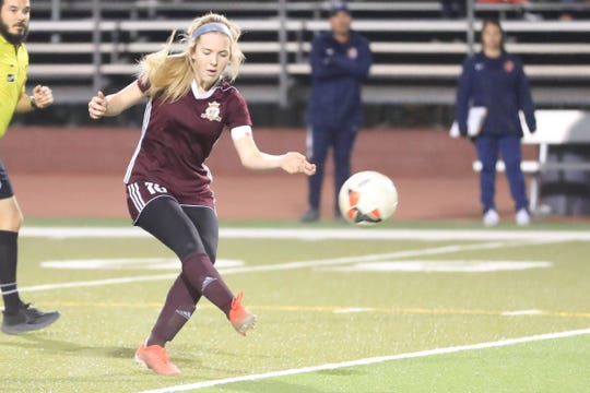 Tulare Union's Jaci Maze against Sanger in a Central Section Division II high school girls soccer semifinal playoff game on Wednesday, February 19, 2020.