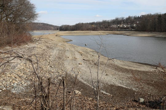The Grassy Sprain Reservoir in Yonkers is pictured with very low water levels, as seen Feb. 20, 2020.