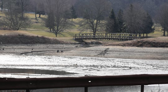 The Grassy Sprain Reservoir, next to the Sprain Lake Golf Course in Yonkers is pictured with very low water levels, as seen Feb. 20, 2020.