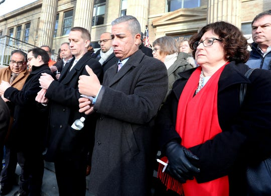 Westchester County legislators Colin Smith and MaryJane Shimsky were among those that attended a vigil in front of New Rochelle City Hall for Alejandro Manuel Caisaguano Pellisa on Feb. 20, 2020.