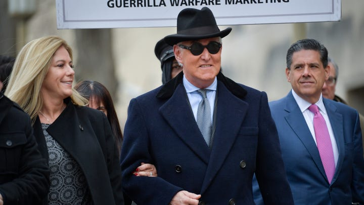 Roger Stone, former political advisor to President Donald Trump, arrives for his sentencing hearing at the Federal District Court in Washington on Feb. 20, 2020.