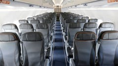 The interior of a commercial airliner.