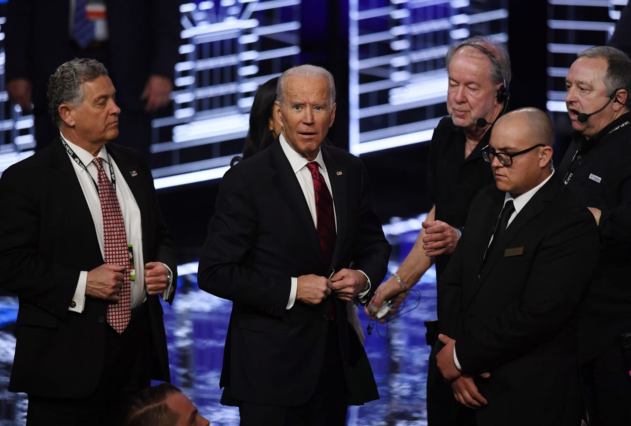 Democratic presidential hopeful former Vice President Joe Biden looks to the crowd after participating in the ninth Democratic primary debate.