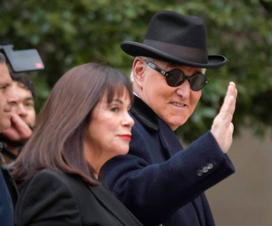 Roger Stone, former political adviser to President Donald Trump, arrives at his sentencing hearing at Federal District Court in Washington on February 20, 2020.