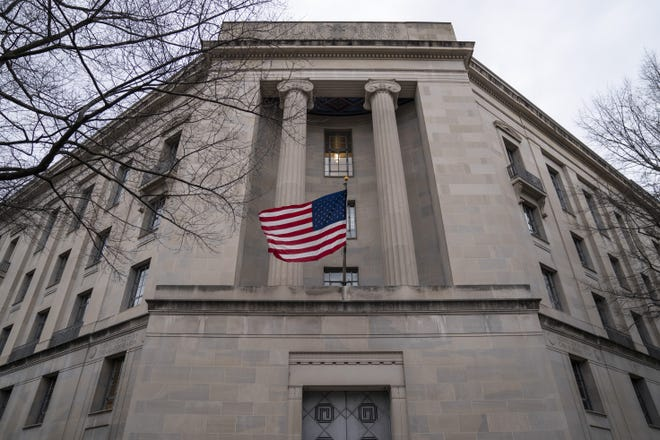 The Department of Justice headquarters stands on February 19, 2020 in Washington, DC.