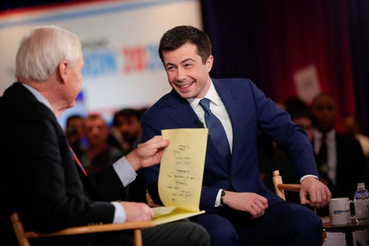 Democratic presidential candidate, former South Bend Mayor Pete Buttigieg is interviewed after a Democratic presidential primary debate.