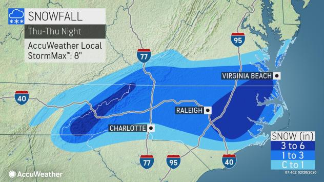Over 12M  in Southeast bracing for winter storm; 6 inches of snow possible in parts of N.C. and Virginia