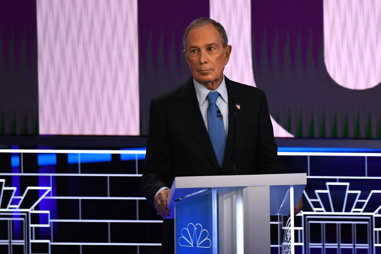 Democratic presidential hopeful Former New York Mayor Mike Bloomberg looks on during the ninth Democratic primary debate of the 2020 presidential campaign season co-hosted by NBC News, MSNBC, Noticias Telemundo and The Nevada Independent at the Paris Theater in Las Vegas, Nev. on Feb. 19, 2020.