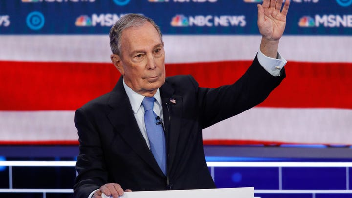 Democratic presidential candidates, former New York City Mayor Mike Bloomberg speaks during a Democratic presidential primary debate Wednesday, Feb. 19, 2020, in Las Vegas, hosted by NBC News and MSNBC.