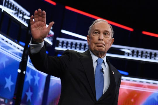 Democratic presidential hopeful Former New York Mayor Mike Bloomberg arrives for the ninth Democratic primary debate of the 2020 presidential campaign season co-hosted by NBC News, MSNBC, Noticias Telemundo and The Nevada Independent at the Paris Theater in Las Vegas, Nevada, on February 19, 2020.