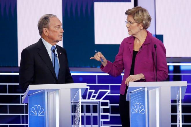 Image result for democratic debate warren bloomberg
