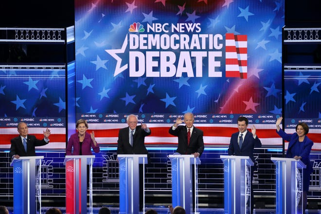 From left, Democratic presidential candidates former New York City Mayor Mike Bloomberg, Sen. Elizabeth Warren (D-MA), Sen. Bernie Sanders (I-VT), former Vice President Joe Biden, former South Bend, Indiana Mayor Pete Buttigieg, and Sen. Amy Klobuchar (D-MN) participate in the Democratic presidential primary debate at Paris Las Vegas on Feb. 19, 2020 in Las Vegas, Nev. Six candidates qualified for the third Democratic presidential primary debate of 2020, which comes just days before the Nevada caucuses on February 22.