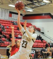 Snyder senior guard Natalee James goes for a layup in a Region I-4A area playoff against Argyle on Thursday, Feb. 20, 2020, at Eastland High School's Marshall Gym.